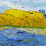 VAN GOGH OF WHEAT FIELDS AND CLOUDED SKIES
